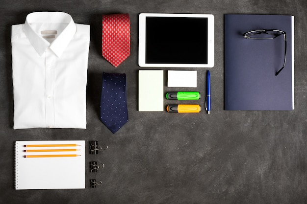 Business objects on the desk, top view