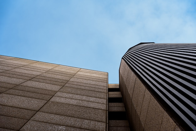 Business office buildings without activity, with calm blue tones, and copy space.