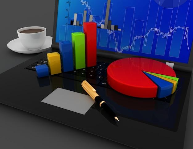 비즈니스 사무실 개념입니다. 노트북 키보드에 그래프와 차트. 3d 렌더링 된 그림