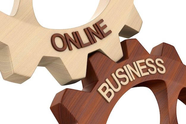 Business online on white.