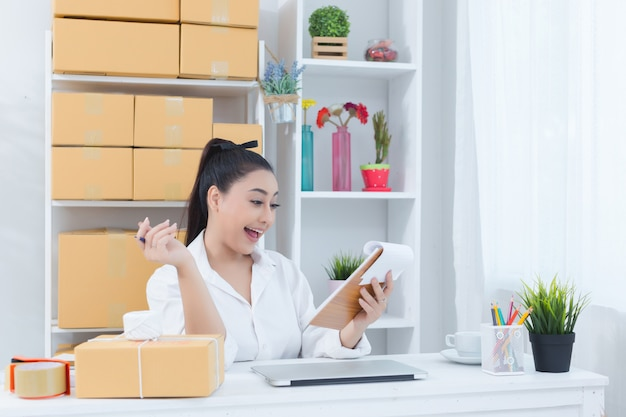Business owner working at home office