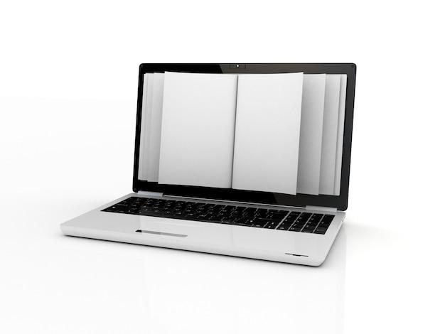 ノートパソコンのビジネスペーパー。モバイルデバイスの概念3d。白で隔離