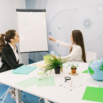 Business partner looking at her manager pointing towards light bulb on flipchart