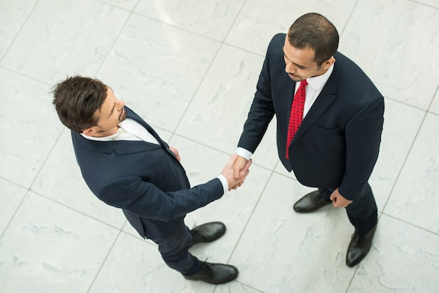 Business partners are shaking hands as a symbol of unity.