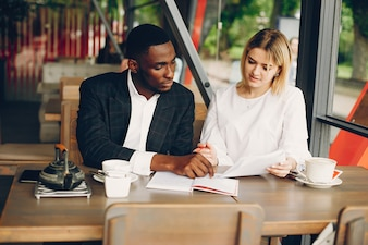 Business partners sitting in a cafe