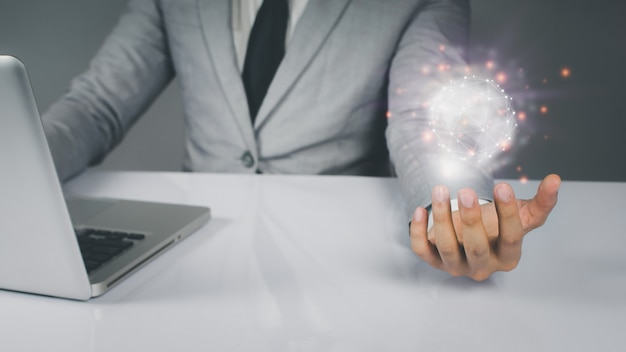 Business people are using innovative technology. digital concepts and connecting the world connection symbols communication lines.