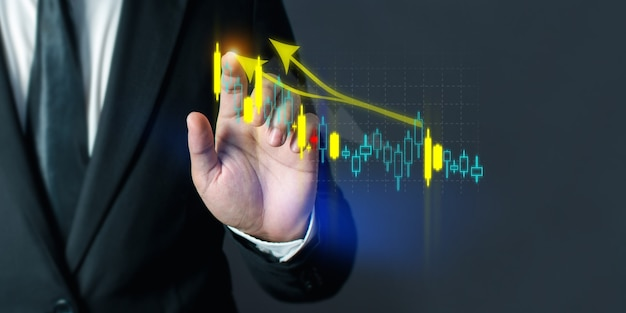 Business people are using stock chart innovative technology. mixed media, digital smartphone and online concept.