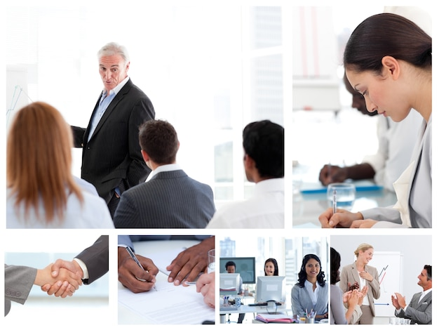 Business people attending to meetings