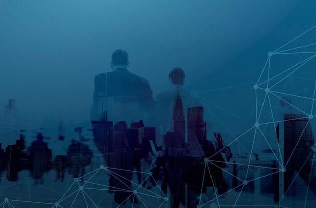 Gente di affari in sfondo blu