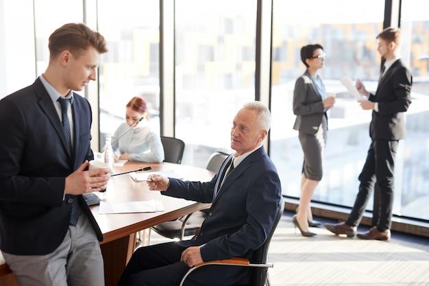 Business people on break