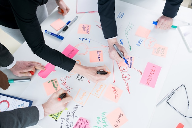 Business people building development strategy
