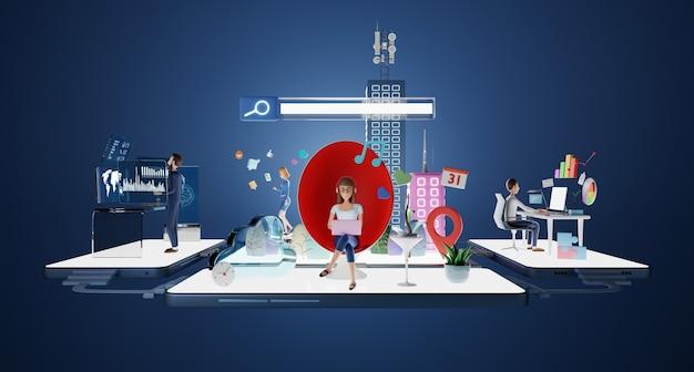Персонажи деловых людей, работающих в виртуальном офисе с интеллектуальной платформой данных. анализ диаграмм, графиков, стратегии, управления, онлайн-общения, социальных и поисковых концепций. 3d-рендеринг.