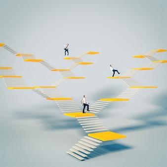 ビジネスマンは抽象的な階段を登ります。仕事の世界での成功と台頭の概念。