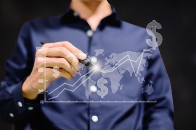 ビジネスマンは世界中でお金を取引するためのグラフを表示します