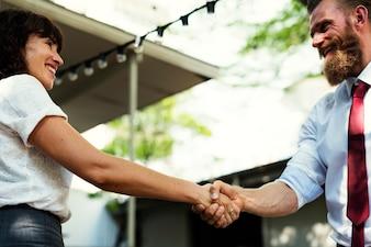 Business people greeting and handshake