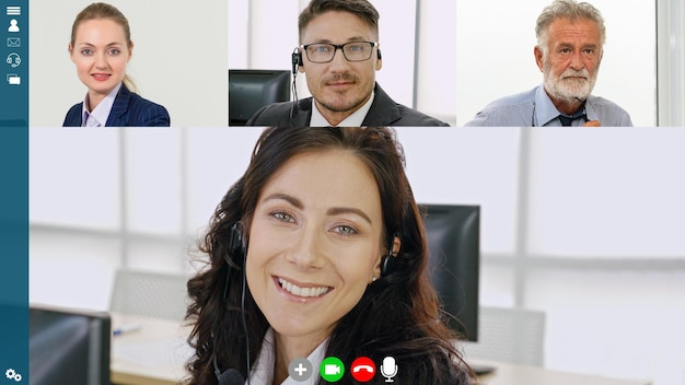 Business people group meeting in video conference