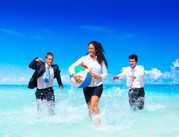 Business people having fun on vacation.