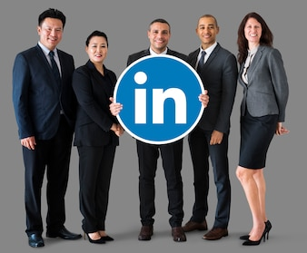 Business people holding a Linkedin logo