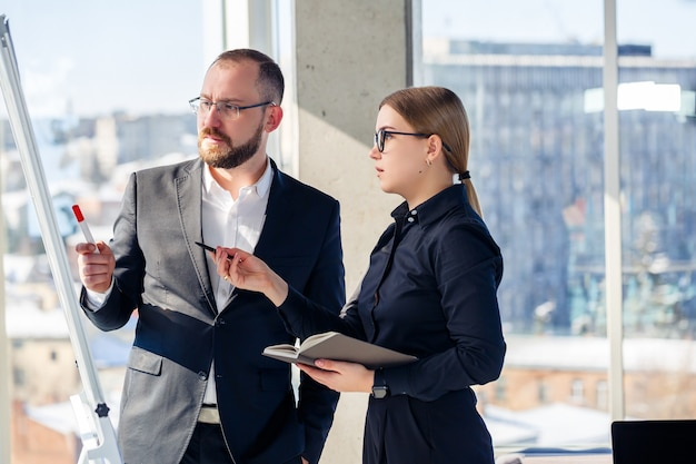 Business people meet in the office and discuss joint business projects. business partnership concept.