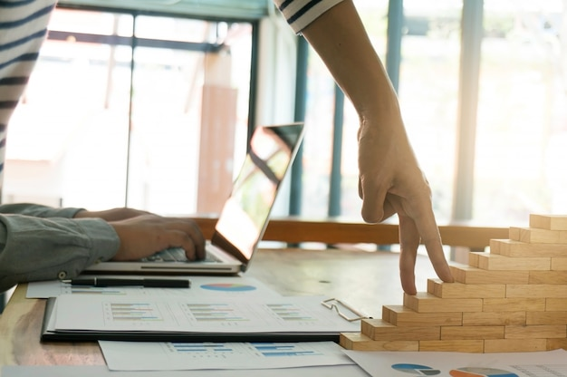 Business people meeting design ideas professional investor working new start up project. concept. business planning in office. growth concept finger.