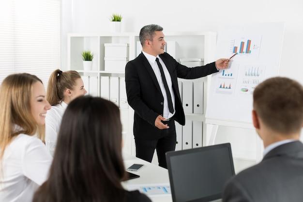 オフィスで会議を行ってプロジェクトについて話し合うビジネスマン。ビジネスの成功のコンセプト