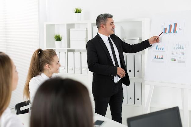 Деловые люди встречаются в офисе для обсуждения проекта. концепция успеха в бизнесе