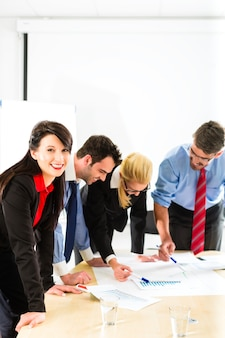 Business, people in office working as team