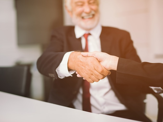 Business people partnership handshake concept