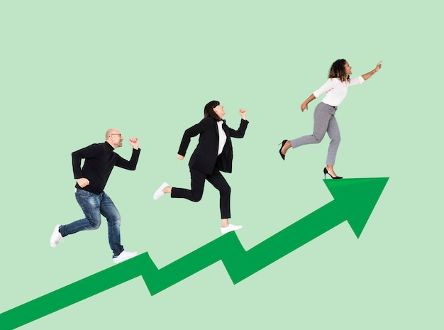 Business people rushing towards success