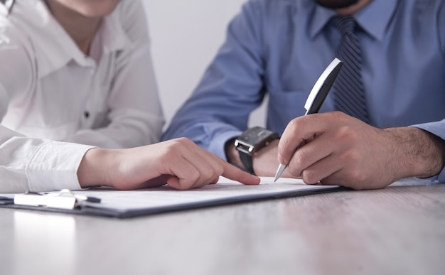 Business people signing contract. business concept