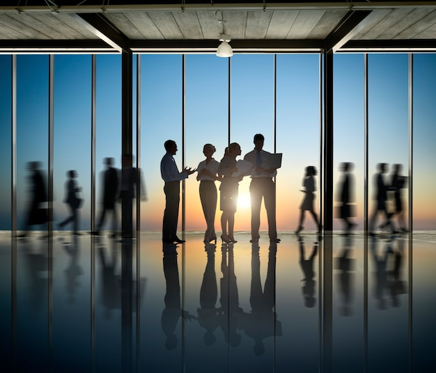 Business people silhouette comapany working togetherness teamwork office