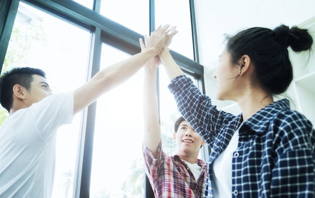 Business people teamwork . teamwork power successful meeting  collaboration relation concept