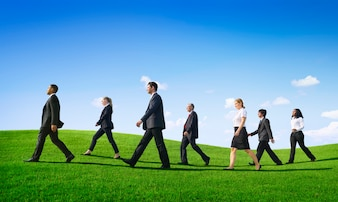 Business People Walking Outdoors the Way Forward