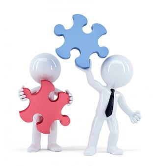パズルのピースを持つビジネス人々。チームワークの概念。分離されました。クリッピングパスが含まれています