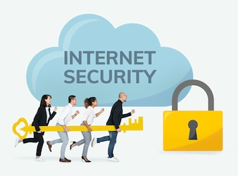 Business people working on internet security