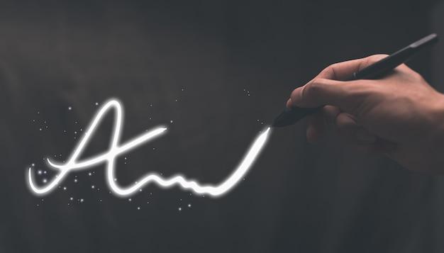 Деловые люди пишут иллюстрацию цифровых подписей