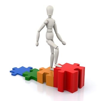 ビジネスパーソンは、ソリューションの目標ジグソーパズルのピースにステップアップします