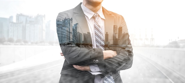Business person on modern city