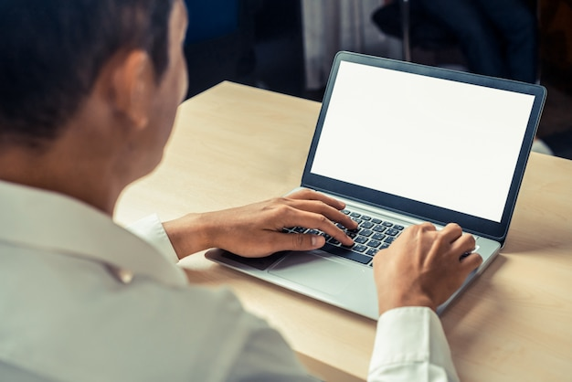 Business person worker uses a laptop computer.