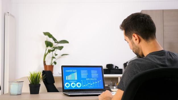 彼の居間でチャートデータを見ている彼のラップトップに取り組んでいるビジネスパーソン