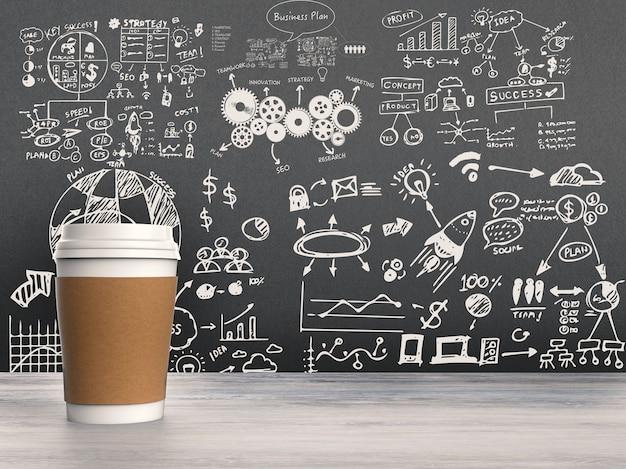 黒板に描く事業計画