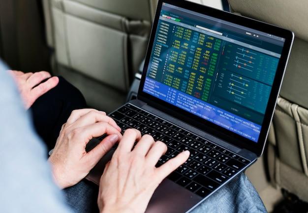 Business poeple using laptop economic financial