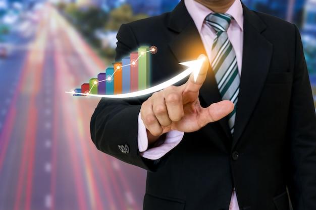 ビジネスポインティングアロー開発ポインティンググラフ企業の成功と成長計画のコンセプト