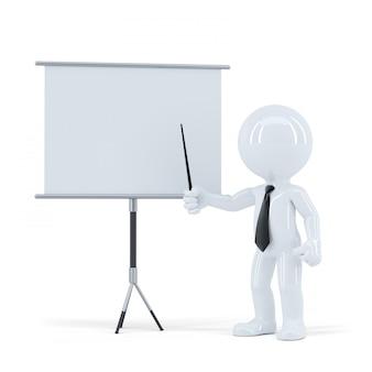 Бизнес презентация. человек 3d стоя перед пустой доской. изолированные. содержит обтравочный контур сцены и пустую доску