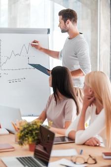 Деловая презентация. уверенный молодой человек стоит возле доски и делает зарисовки, пока его коллеги сидят за столом