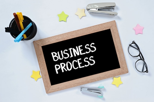 Business process word on top view on blackboard