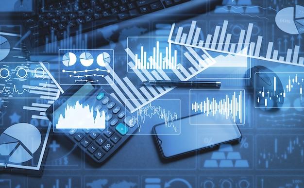 비즈니스 보고서 그래프 및 재무 차트. 재원. 경제. 은행업. 주식 시장