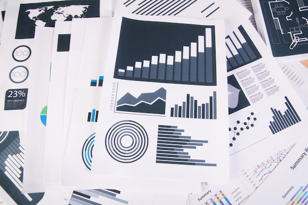 Business report. graphs and charts. business concept.