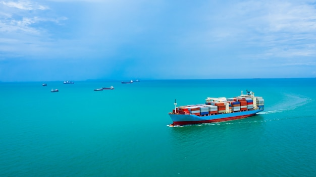 Business service and industry shipping cargo containers transportation import and export international aerial view