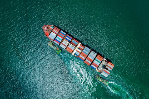 Business service and industry shipping cargo containers transportation import and export international top view